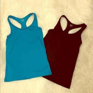 Lot of 2 fitted athletic tops built sports bra
